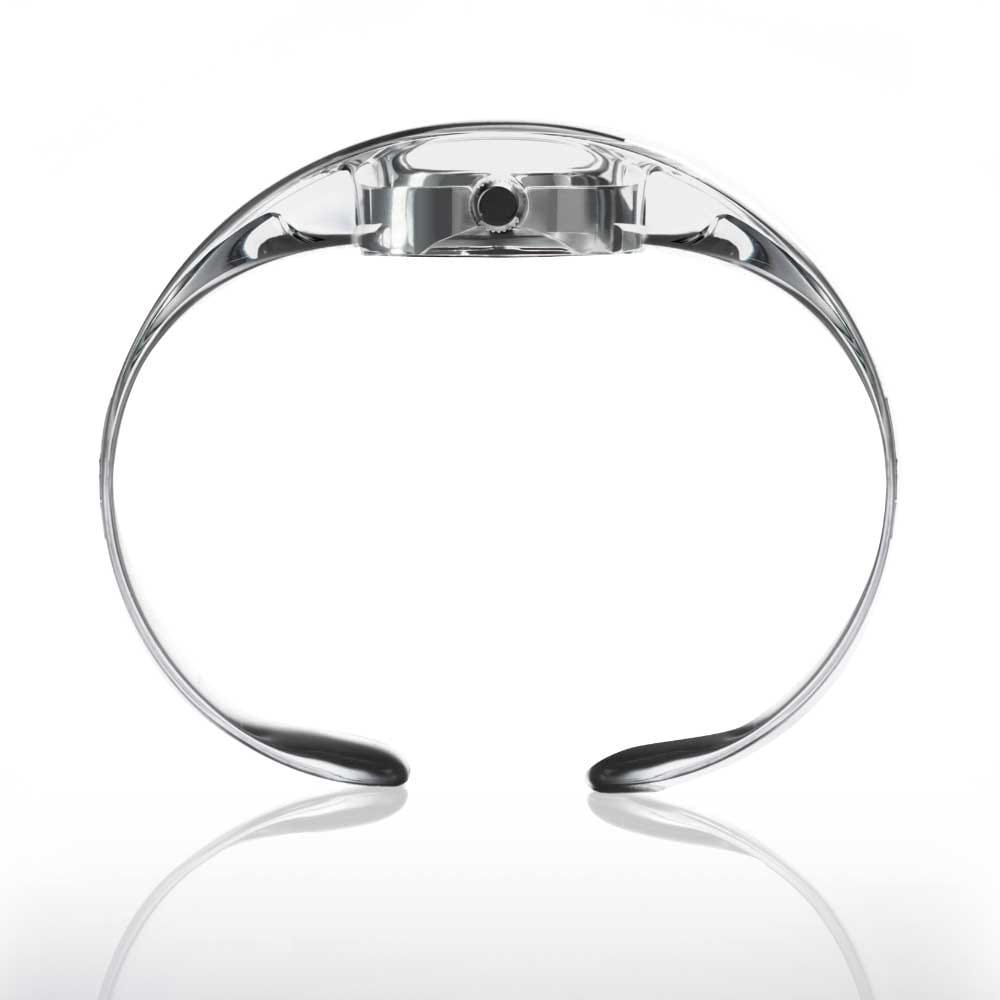 "<span>The ""O"" watch collection is a one-size bangle watch. Worn loosely, it becomes a casual fashion accessory. Light in look, it is equally light in weight—only 25 grams. The super-elastic Grilamid material used with it is also used for glasses and sunglasses.</span>"
