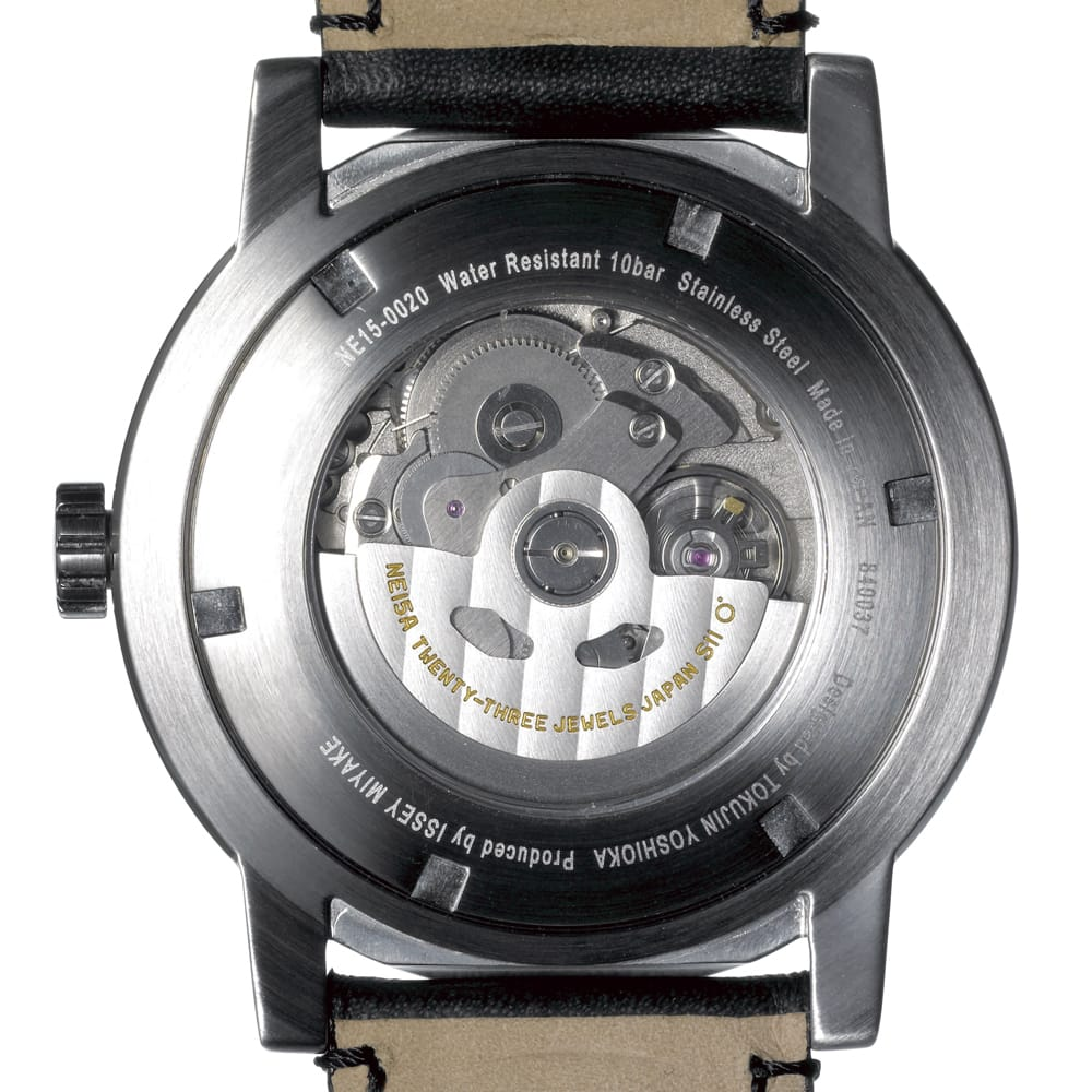 <span>Mechanical movements developed by Seiko Watch Corporation are used.  Manual winding is also possible.  Vibration resistant. Up to 50 hours on a single winding. Laser inscriptions commemorate the collaboration among ISSEY MIYAKE, the producer, Tokujin Yoshioka, the designer, and Seiko Watch Corporation, the manufacturer.</span>