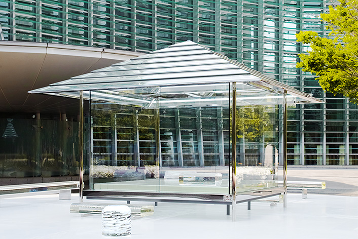 glass bench